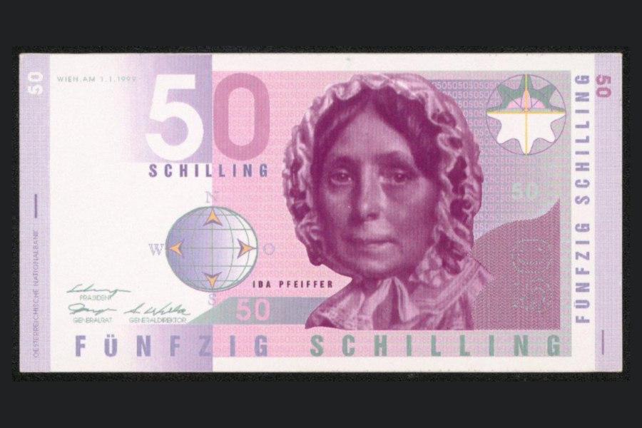 Entwurf für eine Banknote zu 50 Schilling 1999 Ida Pfeiffer Peter Buchegger Credit OeNB